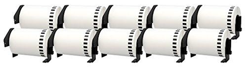 10x DK-22243 102 mm x 30,48 m Endlosetiketten Papier kompatibel für Brother P-Touch QL-1050, QL-1050N, QL-1060N, QL-1100, QL-1110NWB Etikettendrucker