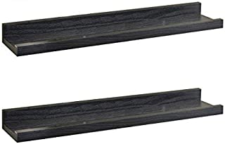 O&K FURNITURE Set of 2 Black Picture Ledge Diaplay Wall Shelf, 18.9