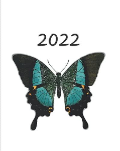 2022 Planner: 2022 Planner: Weekly Meal Planner with Grocery List, Weekly and Monthly To Do List, and Time Slots, Butterfly