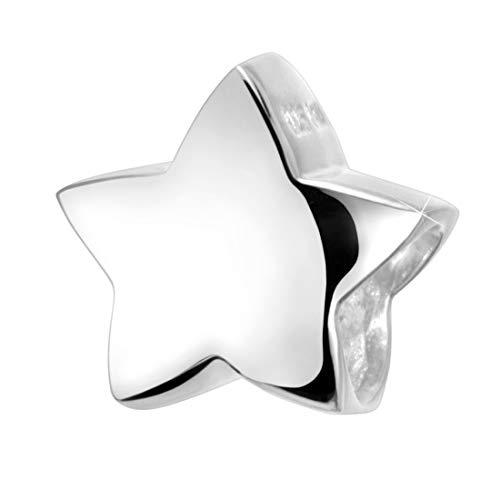 Materia Charms voor dames, 925 zilver, gerhodineerd of goud verguld, kralen voor armband, kettinghanger, sterren