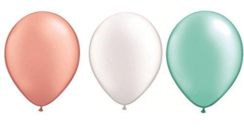 DeCoArt. SET 60 Luftballons pastell perl rosegold, perl weiß und perl mint je 20 ca 28 cm und 60 Ballonverschlüsse weiß Polyband sowie ein weißes Aufblasventil sowie ein DeCoArt. Merkblatt