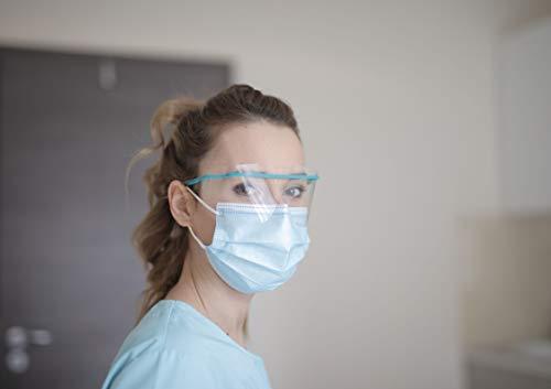(50, Blau) Medizinische Einweg Maske EN14683:2019 Chirurgische Masken Mundschutz Einmalmasken Einweg Mund und Nasen Schutz Schutzmaske Einwegmasken Made in EU Atemschutzmasken mit Nasenbügel
