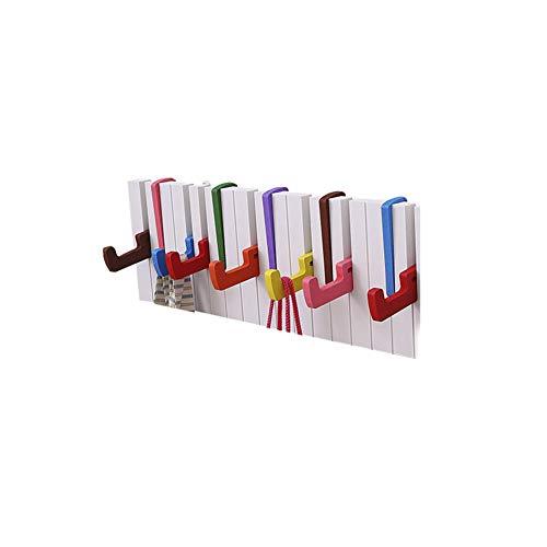 Perchero de Pared,Ganchos Decorativos de la Ropa Ganchos para Abrigos,Creativa Colorida de la suspensión del diseño del Teclado de Piano con el Perchero montado en la Pared de 7 Ganchos