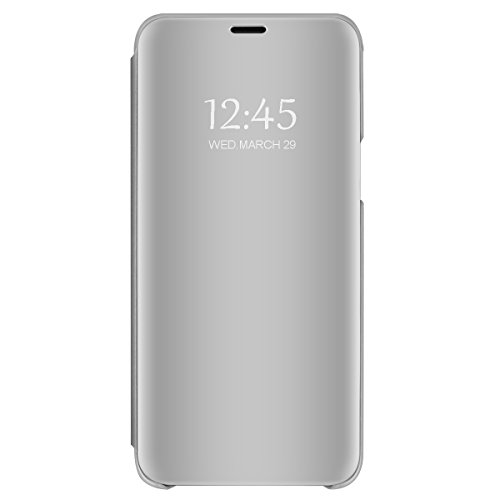Kompatibel mit Galaxy S6 Hülle, Galaxy S6 Edge Handyhüllen Premium Mirror Case Spiegel PU Leder Hülle Tasche Cover Flip Standfunktion Schutzhülle Handyhüllen für Samsung S6 Edge Plus (Silver, S6)