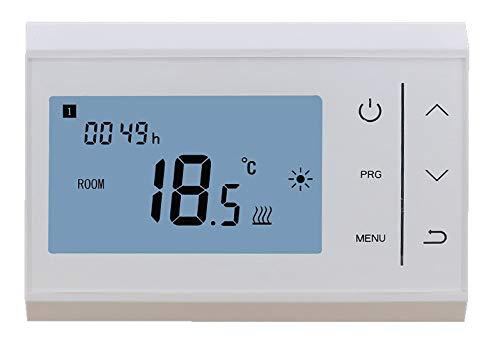 Maxlor V85HI0002 Cronotermostato Programable Electrónico Digital Frío/Calor Cableado, Blanco, Pequeño
