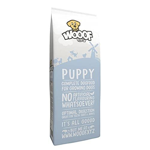 WOOOF Welpen 14kg kaltgepresstes Hundefutter mit Rindfleisch | Purinarmes Trockenfutter, leicht verdaulich, ohne Weizengluten für Junge Hunde