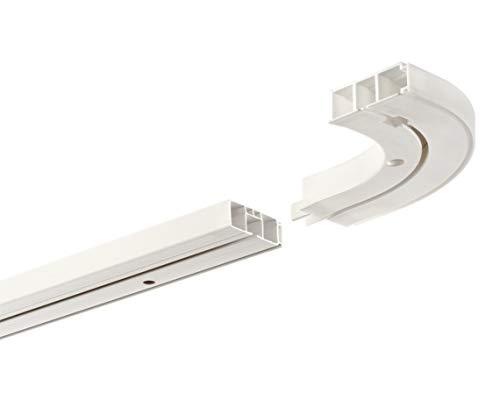 HUGG-Vorhang-Schiene (VS.380.12) 1-/ 2-/ 3- Lauf, Decken-Montage, Ihre Auswahl: 1-Lauf mit 2 Rundbögen - Länge: 100 cm