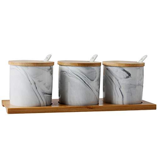 Cerámica Condimento Caja Set Durable 3pcs/Set Marbling Condimento Ollas con Tapa y Cuchara para Azúcar Café Sal, Especias y Pimienta