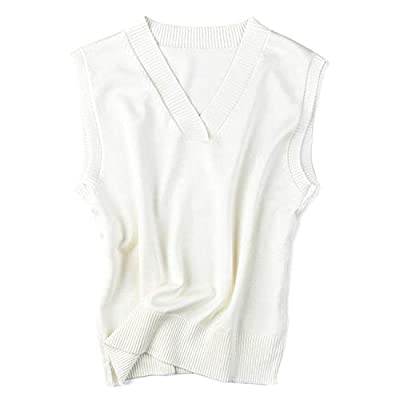 V Neck Sleeveless Knitted Sweater Vest All Match Casual Ladies Tops Winter Femme Jumper Sweater,XL,White from Pink-star