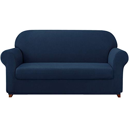 subrtex Sofa Cover 2 Piece Stretch Couch Slipcovers Furniture Protector for Armchair Loveseat Washable Soft Jacquard Fabric Anti Slip(Large,Navy)