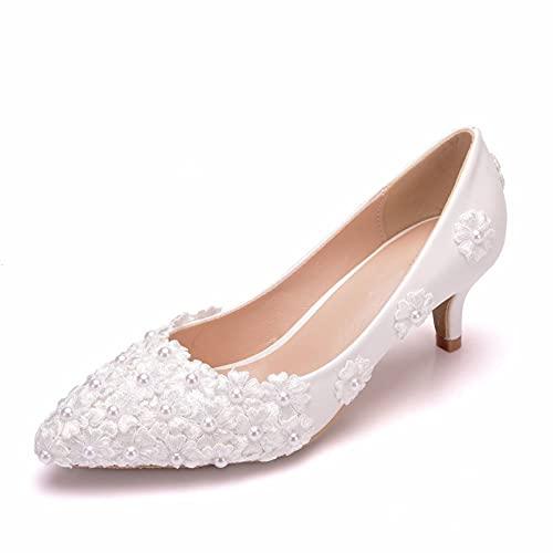 Zapatos De Novia para Mujer, Punta Cerrada, Tacón Bajo, Encaje, Flor, Blanco,...