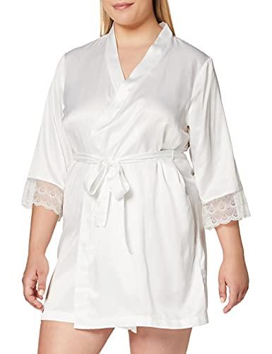 Amazon-Marke: Iris & Lilly Damen Kimono aus Satin, Weiß (Bright White), XL, Label: XL
