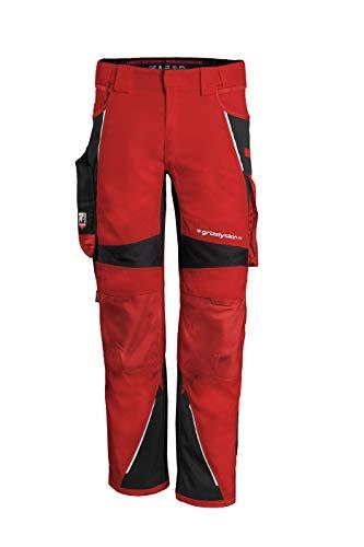 Grizzlyskin Bundhose Rot/Schwarz N48 - Unisex Workwear Arbeitshose für Männer und Damen mit vielen Taschen, Cordura-Schutzhose