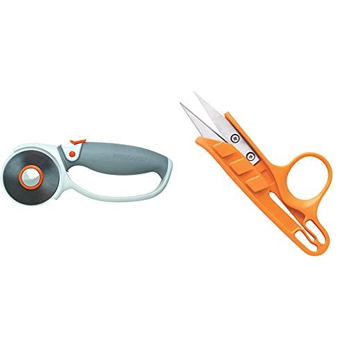 Fiskars Cutter rotatif à Poignée Softgrip, Revêtement en titane, Ø 60 mm, Orange/Blanc/Gris & Ciseaux coupe-fil, Longueur totale: 12 cm, Lames en acier inoxydable/Poignées en plastique, Orange