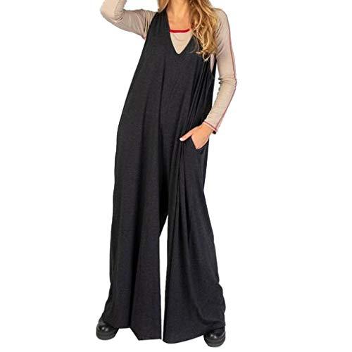 Sohefia Knit Jumpsuit, Sleeveless Knit Jumpsuit, Womens Casual Overalls Baggy Wide Leg Jumpsuits Bib Pants with Pockets Black