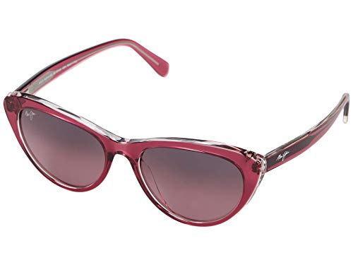 Maui Jim Women's Kalani Cat-Eye Sunglasses, Raspberry W/Crystal Interior/Maui Rose Polarized, Small