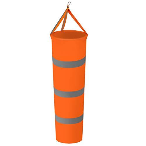 AMACOAM Windsack für Draußen Windsäcke für den Garten Windfahne Orange Windsack mit Reflektierenden Streifen Polyester Gürtel Wetterfeste Tasche zur Windmessung für Draußen Garten Flughafen Rasen 80CM