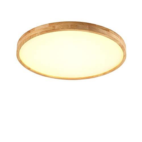 50W LED Deckenleuchte, Nordic Modern Holz Deckenlampe, warmweiß 3000K 4000lm, Φ60cm Runde Holz Lampe für Wohnzimmer, Schlafzimmer, Esszimmer, Büro, Kinderzimmer Leuchte Decke Licht Holzlampe
