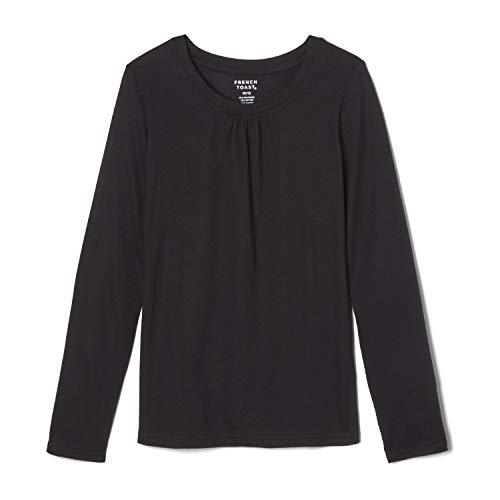 French Toast Girls'  Long Sleeve Crewneck Tee Shirt, Black, 6,Little Girls