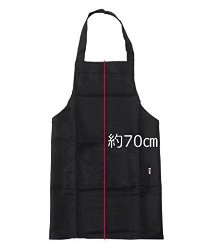 『【SACHIHARE】シンプル カフェエプロン エプロン 美容室 ネイルサロン 保育士 男女兼用 フリーサイズ 黒色 ブラック』の2枚目の画像