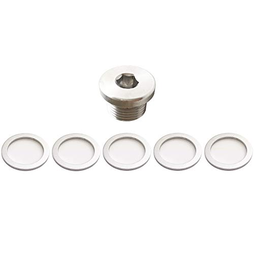 Prime Ave (1) OEM Aluminum Oil Drain Plug + (5) Crush Aluminum Gasket Washers For Porsche