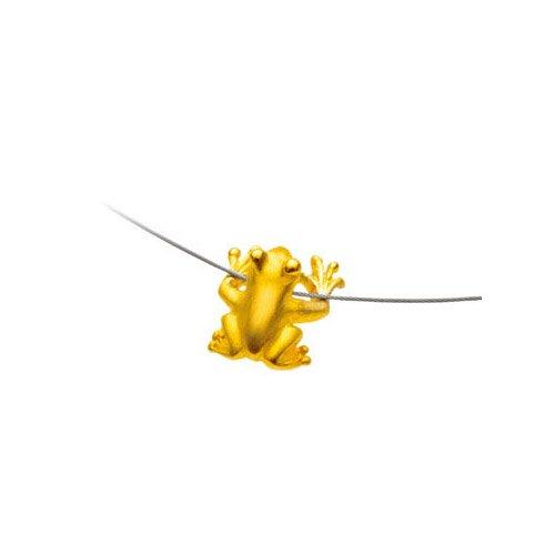 Drachenfels kleiner Frosch-Anhänger in Echtsilber goldplattiert   Kollektion Froschkönig   Anhänger aus 925 Sterling Silber   Froschanhänger für Stahlreif   D FR 63/AGG