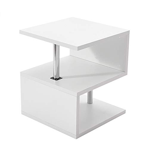 PALDIN Coffee End Table, Multifunction S Shape High Gloss Side Table Modern Design 2 Tier Storage Shelves with LED Lights for Display Shelf Office Study Bookcase White