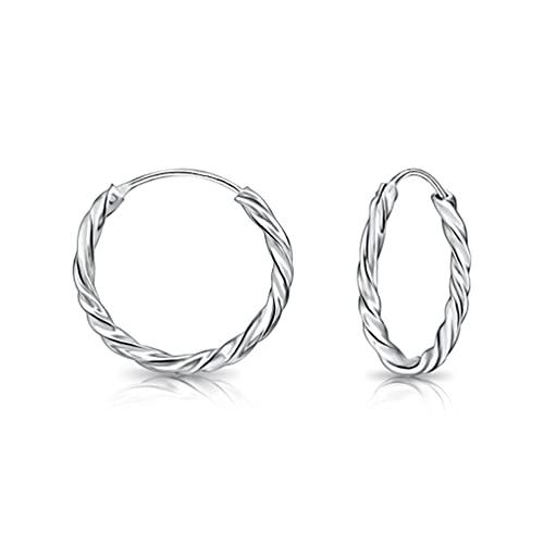 DTP Silver - Orecchini a Cerchio Intrecciati/Creola - Argento 925 - Piccolo - Spessore 1.8 mm - Diametro 18 mm