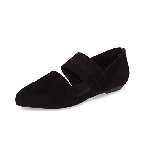 YDN Women's Casual Mary Jane Flats Pointy Toe Elastic Strap D'Orsay Comfy Ballet Shoes Black 4