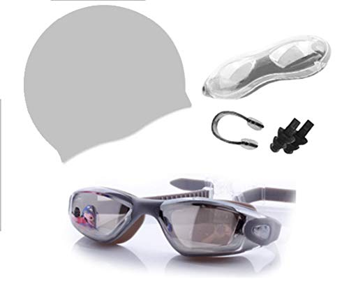Pashator HQ Swimming Goggles+Swimming Cap+Nose Clip+Ear Plugs, Anti Fog UV Protection (Mirrored Lens) for Adult Men Women Youth Kids Child (Grey)