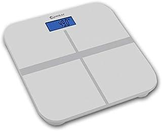 Sansai White Digital Personal Bathroom Scale Precision Glass Body Weight Measure