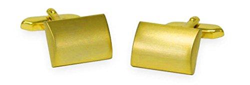 Unbekannt Manschettenknöpfe vergoldet matt rechteckig leicht gebogen inkl. Geschenkbox