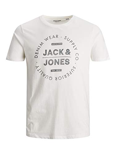 Jack & Jones JJEJEANS Tee SS Crew Neck Noos 20/21 T-Shirt, Cloud Dancer, L Homme