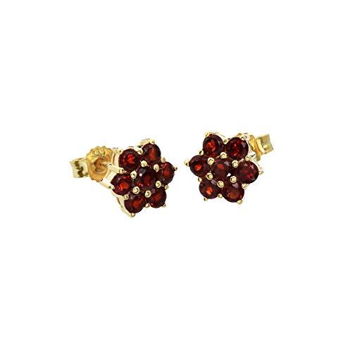 NKlaus Paar 8mm Blumen Granat Ohrstecker 333 8K Gold gelbgold Damen Stecker Ohrringen 9208