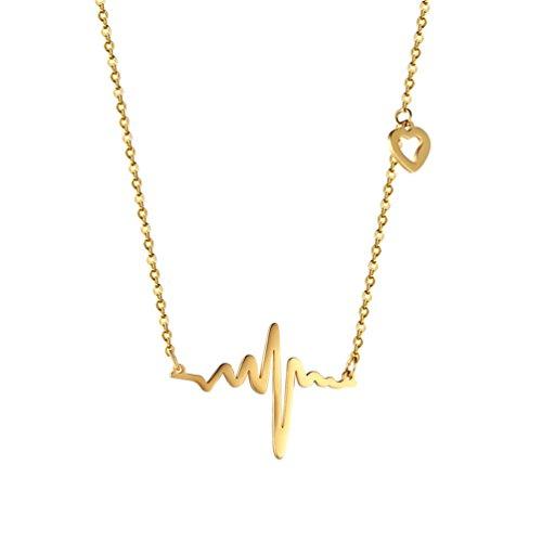 Collier Battement de coeur tour de cou pour femmes bijoux délicats en acier inoxydable 316L plaqué or ECG - 0