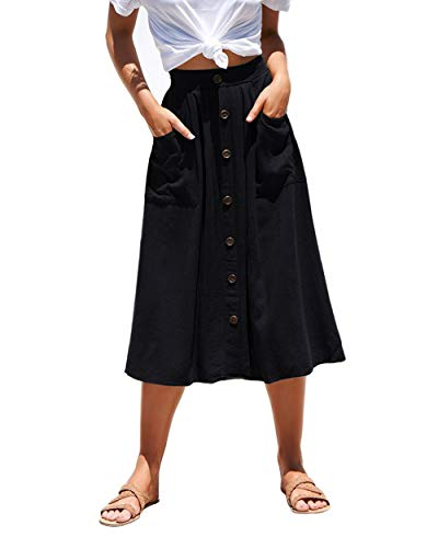 Azue Womens A Line Midi Skirt Elastic Waist Front Button Casual Pleated Skirt with Pockets Black Large