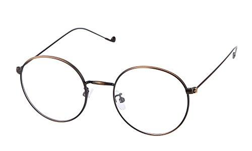 Lukis Lukis Brille Nerdbrille Retro Rund Unisex Metallgestell Brillenfassung Dekobrillen 140x50mm Bronze