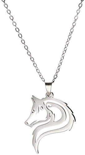 ZJJLWL Co.,ltd Necklace Amulet Wolf Animal Necklaces Fashion Stainless Steel Cutout Wolves Pendant Chain Necklace Women Mujer Jewelry Gift