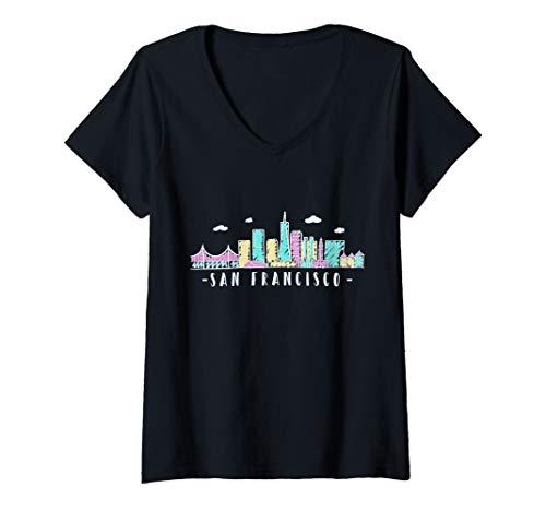 Womens San Francisco Skyline Golden Gate Brigde California Gift V-Neck T-Shirt