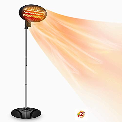 SOARRUCY Patio Heater Electric Outdoor Heater- 1500W 3 Adjustable Power Level Outdoor Infrared Heater w/Tip Over & Overheat Protection, Tip-Over,LED Display,Weatherproof,Garage,Garden, Patio Use