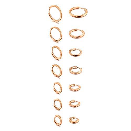 JSDDE Piercing 14er Chirurgenstahl Ohrringe Creolen Hoop Ring Ohrstecker Septum Tragus Ring Helix Knorpel Stal Ohrpiercing Huggie Kreolen Ohrringe Rosegold Set 8-20mm