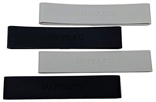slimpuro - Silikon Bänder für Nano Aluminium Slim Wallet Kreditkartenetui - Ersatzbänder - Geldklammer - Grau und Schwarz - 4 Stück