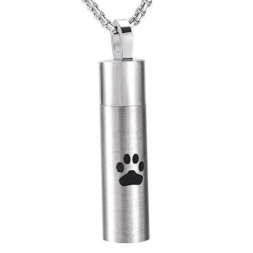 Memorial Cenizas Colgante de urna para mascotas para cenizas, acero inoxidable, perro negro/pata de gato, collar de cilindro con estampado de pata, recuerdo conmemorativo, joyería de cremación