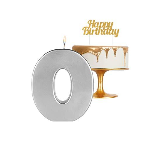 Velas extra grande 20 cm para cumpleaños número 0 color plata metalizado - ideal para fiestas de cumpleaños, aniversarios, baby shower, fiestas, celebraciones, bodas de oro o plata - 1 unidad