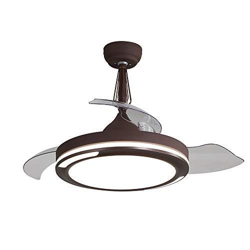 EDISLIVE 107cm Unsichtbare Deckenventilatoren mit Licht und Fernbedienung 3 Einklappbare Clear Flügeln Dimmbar Lampe mit Ventilatoren Einstellbare Geschwindigkeit (Kaffee)