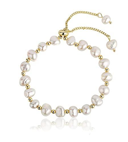 Pulseras de perlas de 8 cm elegidas a mano perla blanca barroca elegante joyería para mujeres niñas