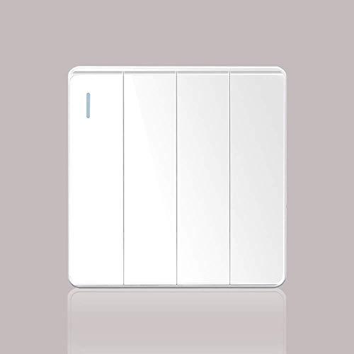 Yppss Interruptor de panel plano puro nórdico simple blanco Rocker Switch Hotel Restaurante Iluminación comercial Control simple o doble 86 tipo panel de interruptor eterno (color: 4 bandas 1 vía)