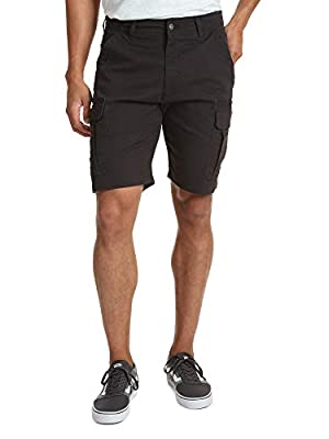 Wrangler Authentics Men's Classic Relaxed Fit Stretch Cargo Short, Black Twill, 36