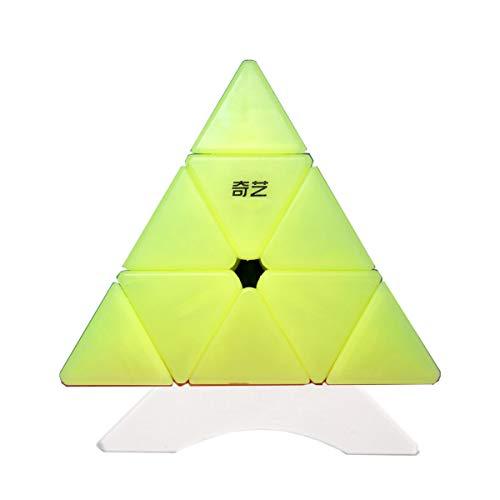 OJIN Jelly Color Design Series Qiming Pyrmainx Magic Cube Qiming Triángulo Tetraedro de Cuatro Ejes Velocidad Puzzle Cubo Suave torneado de Juguete con un trípode (Qiming Pyraminx)