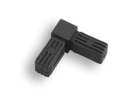 1 Steckverbinder Rohrverbinder für Quadratrohre, Kunststoff/Polyamid, Schwarz (30 x 30 x 2 mm, Rechter Winkel)
